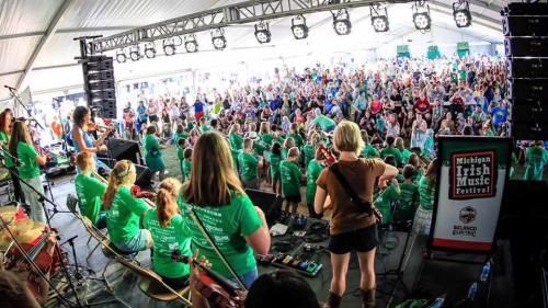 Musicians performing for crowd at Michigan Irish Music Festival