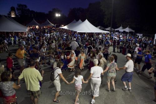 Crowd dancing at Greek Festival in Grand Rapids, Michigan