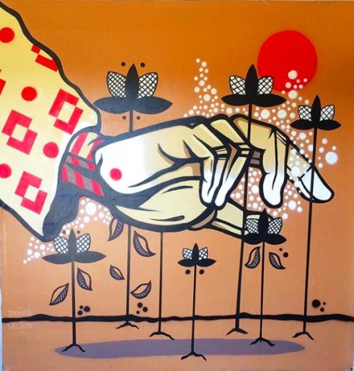 Street art mural by Atlanta artist Tanner Wilson
