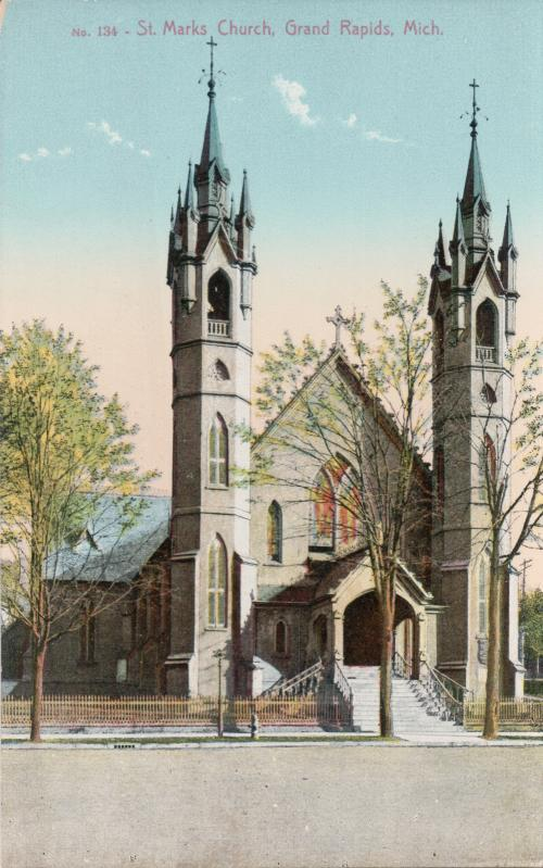 Old illustration of St. Mark's Episcopal Church in Grand Rapids, Michigan
