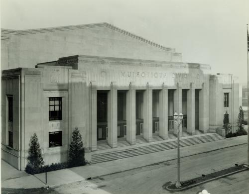 Old photo of the Civic Auditorium in downtown Grand Rapids, MI