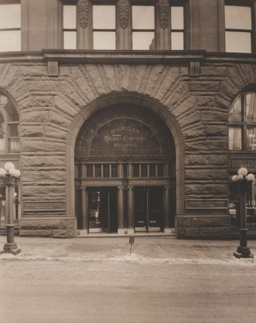 Old photo of the 77 Monroe Center building in downtown Grand Rapids, Michigan