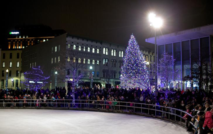 Tree Lighting at Rosa Parks Circle in downtown Grand Rapids