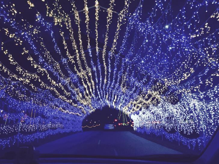 Tunnel of lights display at the Fifth Third Ballpark Christmas Lite Show