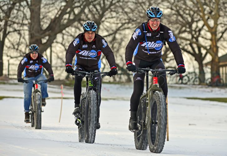 Alger Bike team members on fatbikes in Grand Rapids
