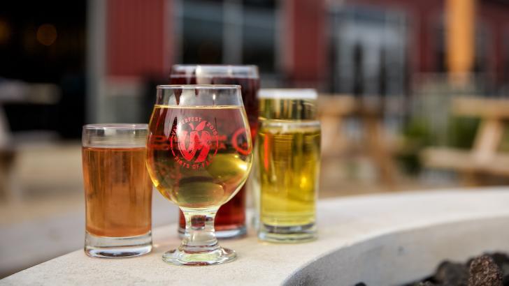 Cider on Vander Mill's patio in Grand Rapids