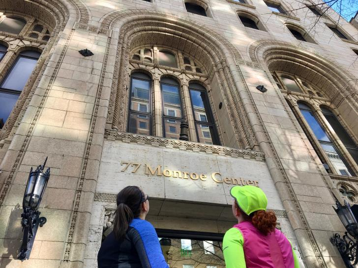Grand Rapids Running Tours outside the 77 Monroe Center building