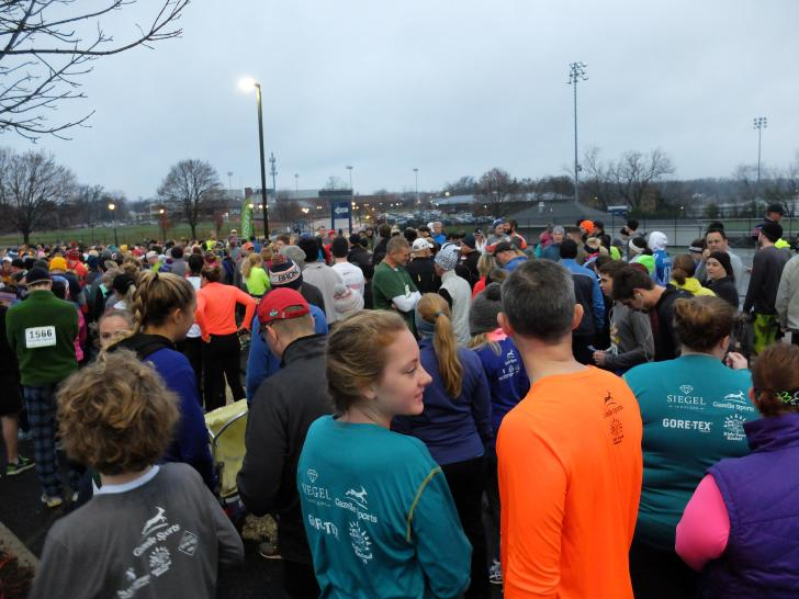 Runners preparing for the Gobble Wobble run in East Grand Rapids
