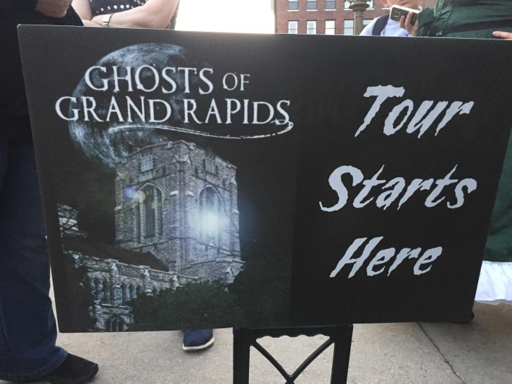 Ghosts of Grand Rapids tour sign