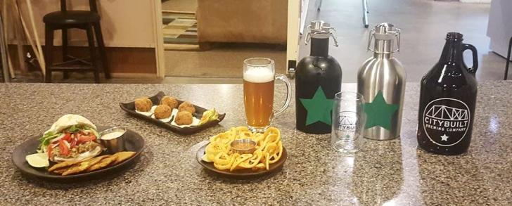 Dishes and beer from City Built Brewing in Grand Rapids, Michigan