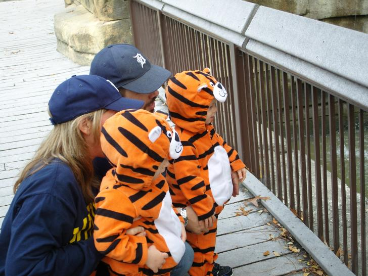 Kids in tiger Halloween costumes at the John Ball Zoo in Grand Rapids