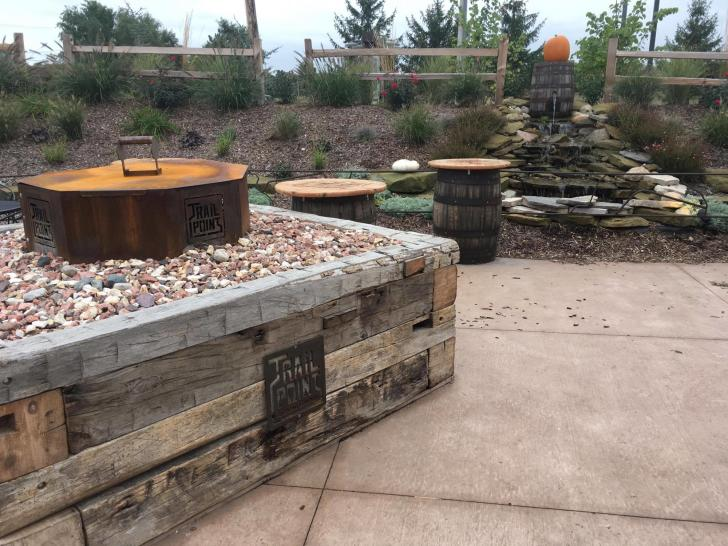 Heaters and firepits at Trail Point Brewery in Allendale, Michigan