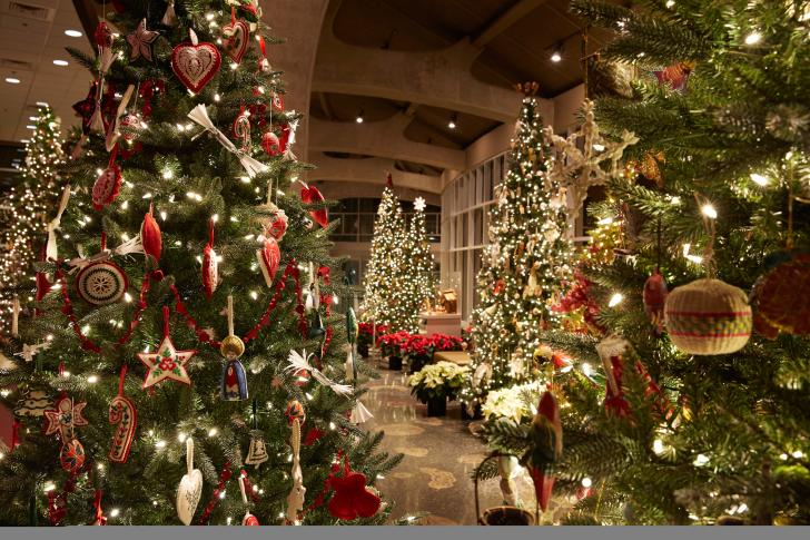 Christmas trees and decor at Frederik Meijer Gardens & Sculpture Park