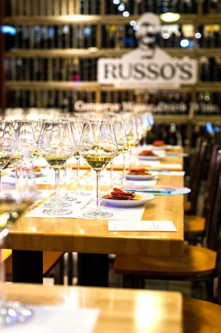Wine displays at Russo's International Market in Grand Rapids, Michigan