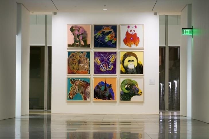 Grand Rapids Art Museum lobby with Warhol paintings