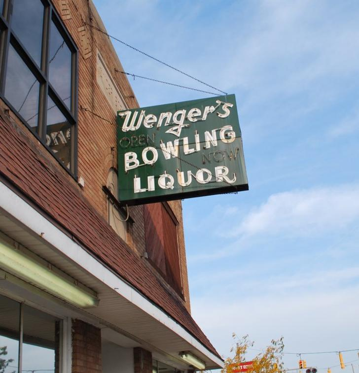 Sign for Wenger's Bowling in Grand Rapids