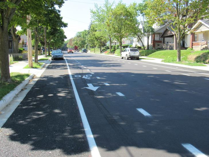 Bike path created by Vital Streets bicycle infrastructure