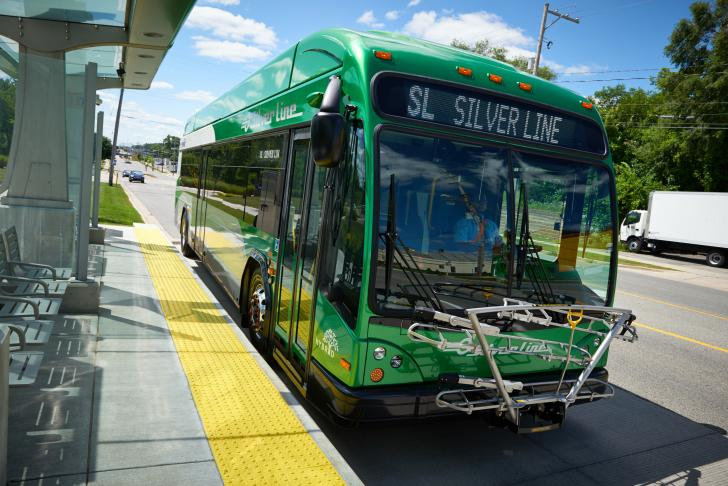 The Rapid's Silver Line bus in Grand Rapids
