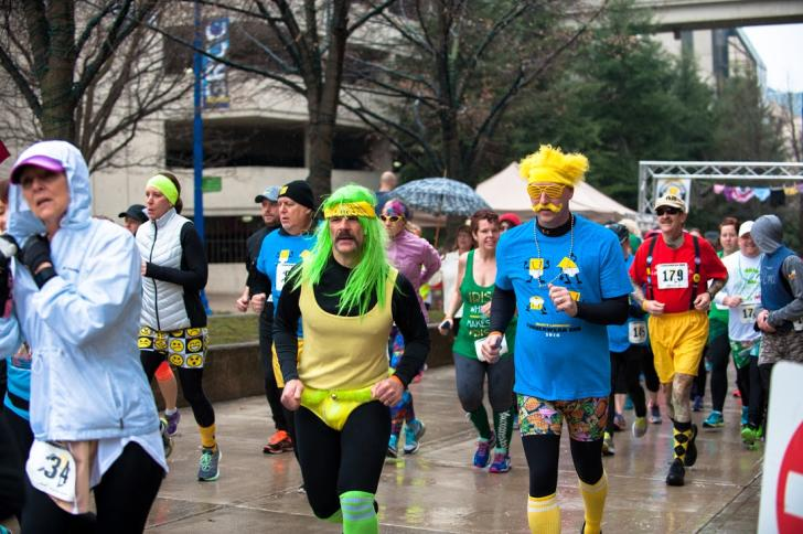 Runners during the LaughFest FUNderware Run in Grand Rapids