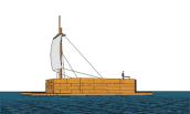 """This is a representation of """"Cooper's Ark"""" being sailed across Lake Ontario to Sackets Harbor in 1813. Drawing, based on original plans, by Dennis McCarthy of Cape Vincent. (Drawing courtesy of Richard Palmer.)"""