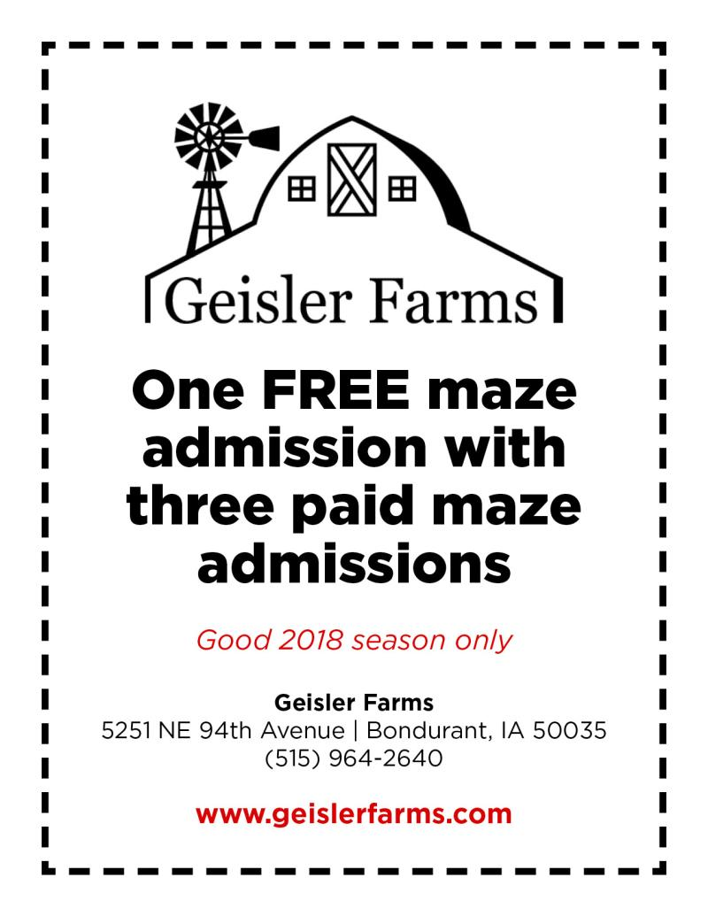 2018 Geisler Farms Coupon