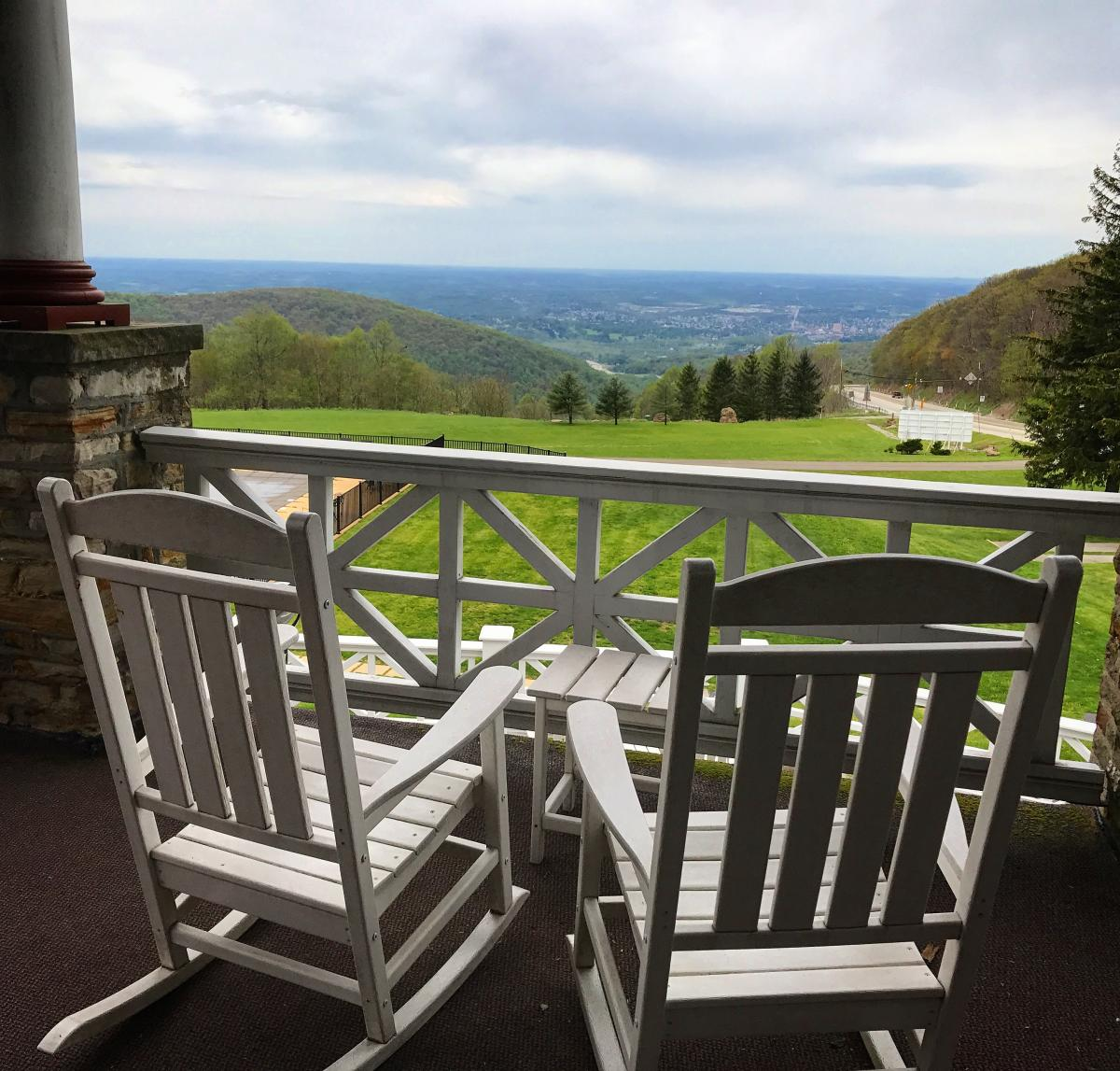 View from the porch at The Historic Summit Inn