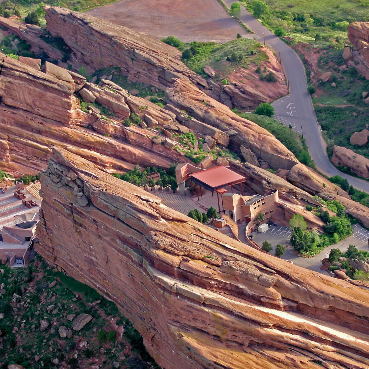 Aerial view of Red Rocks Park & Amphitheater