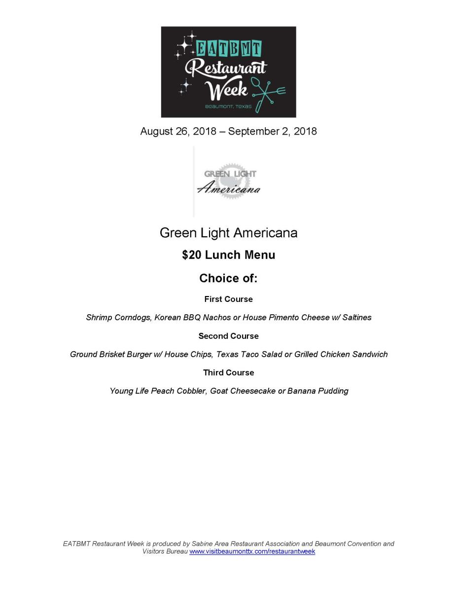 Restaurant Week Green Light Americana Lunch Menu