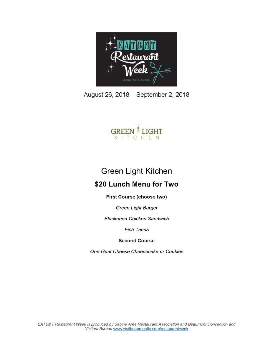 Green Light Kitchen Menu