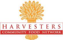 Wheat bundle behind the words Harvesters Community Food Network