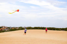 Flying kites at Jockey's Ridge in North Carolina