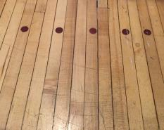 Reclaimed floor from a bowling alley in Tundra Inn, Churchill, Manitoba