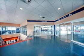 Interior photo of Cruise Terminal 26 passenger waiting area