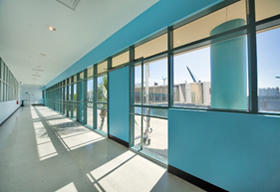 Cruise Terminal 4 interior photo showing walkway to cruise ship
