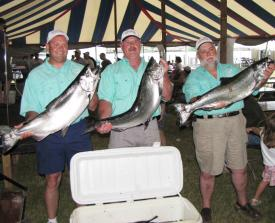 Pictured at last year's weigh-ins are Dennis Pefetto, Mark Erho, and Capt. Del Casterline, members of Liquid Plumber team out of Mountaintop, PA.  They won the amateur division at the Oswego event and were the 2009 Lakewide Amateur Challenge Cup Champions.