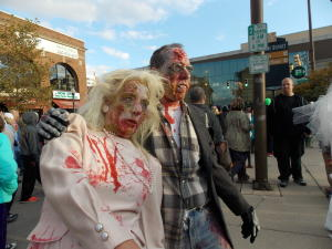 By zombie standards, bloodied and open-wound couple Gregg Bender and Beverly Quinn Miller of Fort Wayne were a striking duo at a past Zombie Walk.