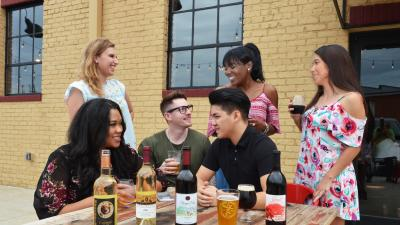 Group enjoying wines and beers from Rowan County