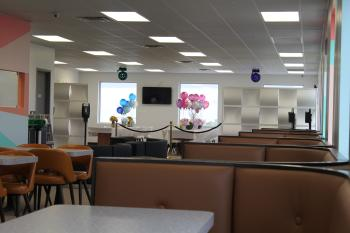 The concession area is clean and spacious.