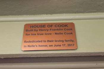 House of Cook welcome plaque