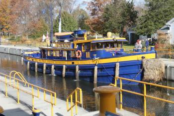 Boat docked in the Erie Canal