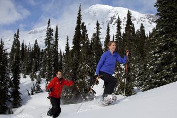 Snowshoeing on Mount Rainier