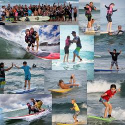 Collage of surfers