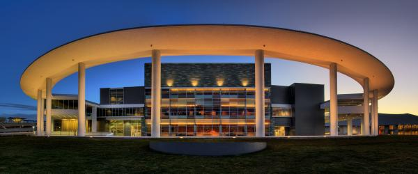 Long Center exterior and pavilion at twilight
