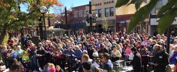Crowd Singing at the Boulder Sing Along