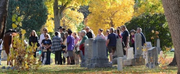 Group of people at the Columbia Cemetery for Meet the Spirits