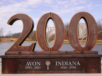 Check out the Indiana Bicentennial monument at Avon Town Hall Park while you're there for the Outdoor Table Tennis Tournament.