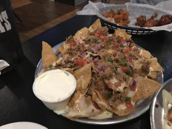 Delicious loaded, pulled pork nachos at Diesel's Sports Grille.