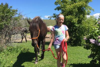 Little girl bonds with Chance