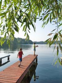 kids fishing on dock