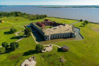 Aerial View of Fort Delaware, Delaware City, Delaware